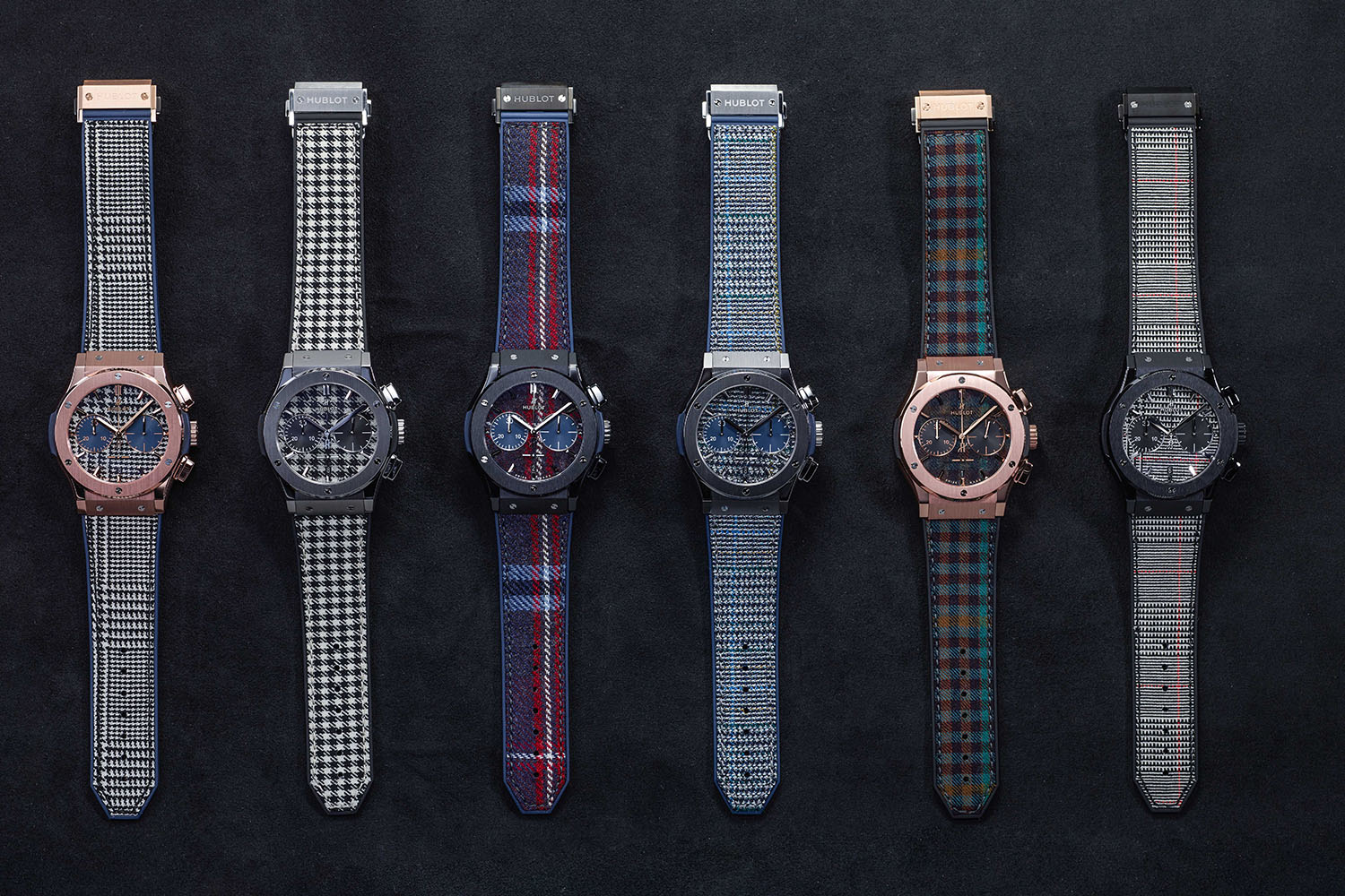 """d555e35c8 The Hublot Classic Fusion Italia Independent collection comprises 6  watches, in 3 different materials: titanium with black and white  """"Houndstooth"""" or Blue ..."""